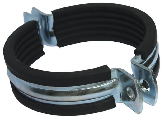 Pipe clamps made of stainless steel with rubber lining